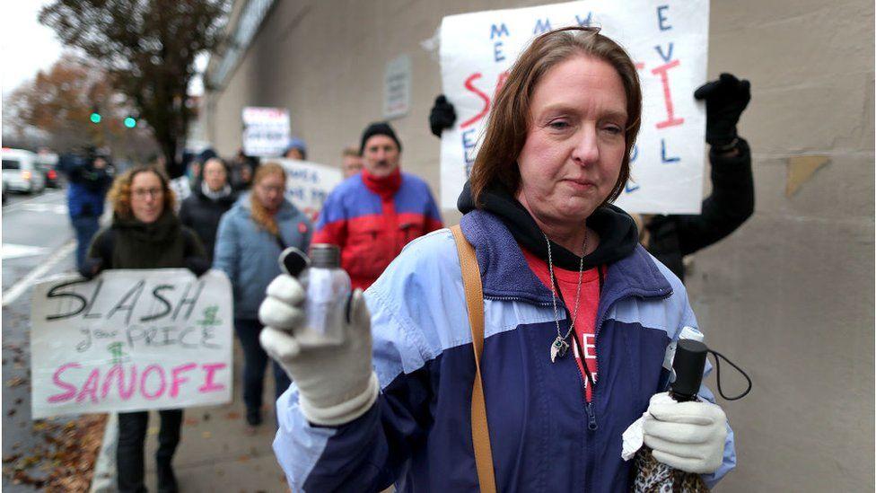 Protesto contra o custo da insulina